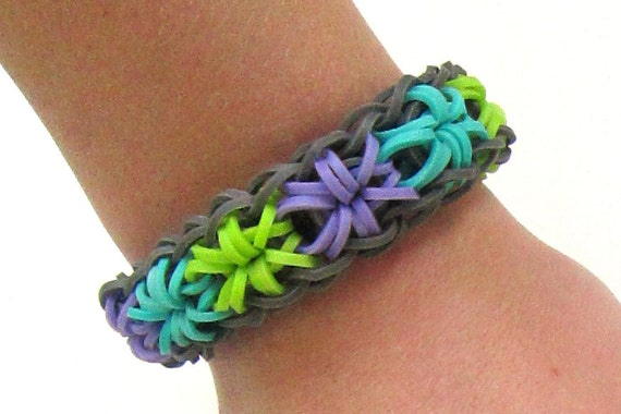 Rubber Wedding Band >> Items similar to Rainbow Loom Starburst Teal, Purple and Lime Green With Gray Border Rubber Band ...