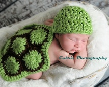 Newborn photo prop-crochet turtle set-baby turtle prop-turtle cape-turtle beanie-knit turtle set