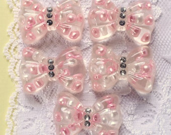 5 Pcs Big Clear Bows With Pink Embedded Pearl Cabochons - 42x30mm