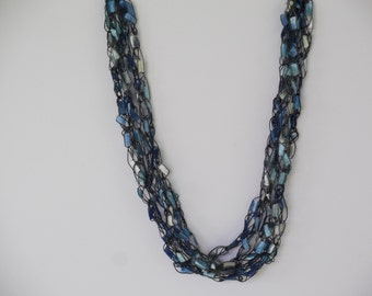 River Blue Ladder Trellis Yarn Necklace