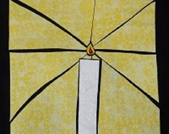 Candle Light Stained Glass Quilting Pattern Design
