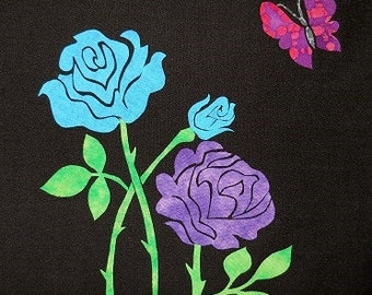 Roses with Butterfly Quilt Applique Pattern Design