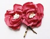 Coral Flower Hair pins - Deep Coral Fabric Flower Hair Pins - Small Salmon Colored Flower Hairpins