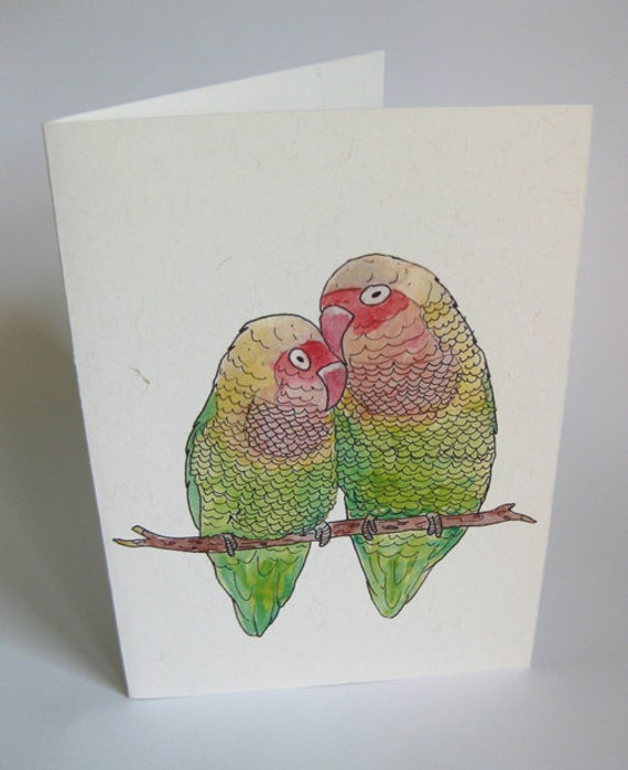 Love/Blank Bird Theme Note Card - Handmade and printed from original ink and gouache illustration