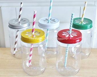 Plastic Mason Jars, Colored Daisy Lids, 10 17oz, Table Setting, Kids Cups, Mason Jars, Tumblers, Kids Table, Baby Shower Table Made in USA