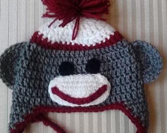 Crochet Sock Monkey Hat / Animal Hat