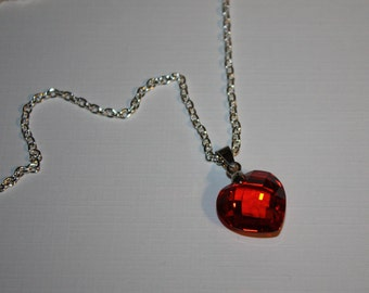 Heart Pendant, Swarovski Heart Pendant, Red Swarovski Heart Pendant with Silver Plate Chain and Lobster Claw Clasp