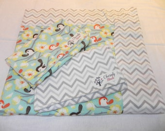 Chickadee Cotton Print Flannel baby blanket with two burp cloths