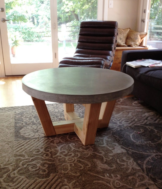 Industrial Coffee Table Diy: Items Similar To Industrial Style Concrete Coffee Table On