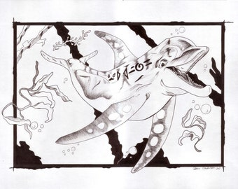 "SALE! Drawing ""Enchanted Dolphin"""