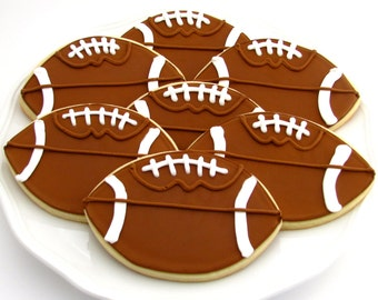 Football Cookies | Football Party | Football Birthday Party | Football Coach Gift | Super Bowl Party | One Dozen Large Footballs
