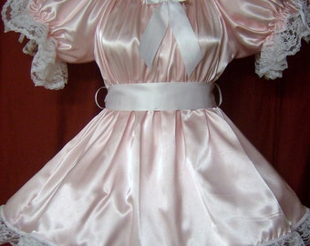 Adult sissy baby satin party pageant lil girl style dress with attached crinoline skirt slip