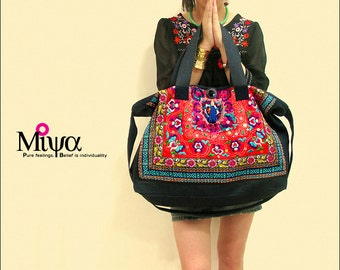 Miya's Original Ethnic Hmong Embroidered Bag  Purse Shoulderbag - Red Lover