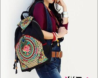 Miya's Original Ethnic Hmong Embroidered Bag Backpack Style Shoulderbag - Blossom
