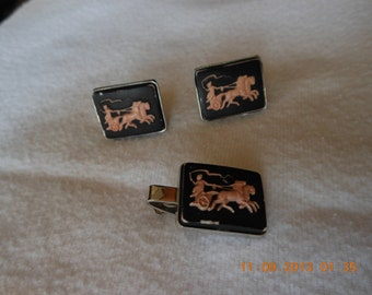 black cuff links & tie bar