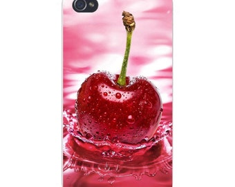 Apple iPhone Custom Case White Plastic Snap on - Red Cherry Splashing in the Water 4789