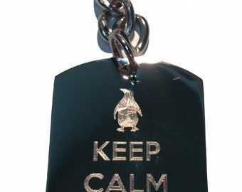 Keep Calm And Love Penguins - Metal Ring Key Chain LOVE PENGUINS