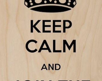 Keep Calm and Join The Dark Side Black - Plywood Wood Print Poster Wall Art WP - DF - 0408