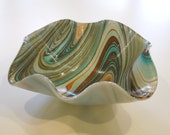"""Turquoise and brown swirl 10"""" wavy bowl"""
