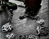 Free shipping.Metal bracelet, with metal roses, iron chain, acrylic bead and jump rings.
