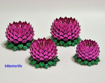 Lot of 4pcs Origami Lotus PINK In 4 Different Sizes. (4D Glittering Paper Series). #FLT-156.