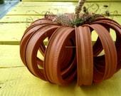 Upcycled Mason Jar Canning Lid Pumpkin, recycled, Home Decor, Fall, Thanksgiving, rustic, Halloween, Autumn, Wedding Decoration, fall decor