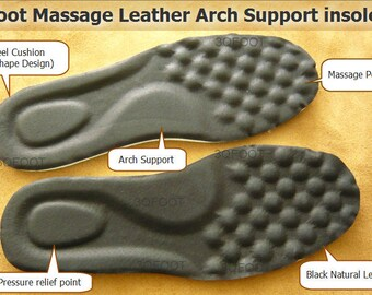 Foot Massage Leather Arch Support insoles ( 25CM for Women / 29CM for Men)
