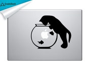 Fishing Cat in Fishtank Mac Decal Vinyl Laptop Decal Mac Stickers Decal Mac 11 13 15 15 Inch for him & for her