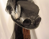 Steampunk Gun Metal Riding Hat with Goggles and Wings with Netting - JillieKatCreations