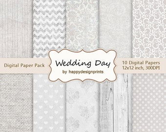 "SALE! Wedding Fabric Digital Paper Pack of 10, 300 dpi, 12""x12"" Instant Download Pattern Paper Scrapbooking, Invites, Cards JPG"