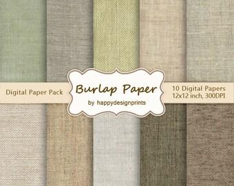 "Neutral Burlap Linen Fabric Digital Paper Pack of 10, 300 dpi, 12""x12"" Instant Download Pattern Paper Scrapbooking, Invites, Cards JPG"