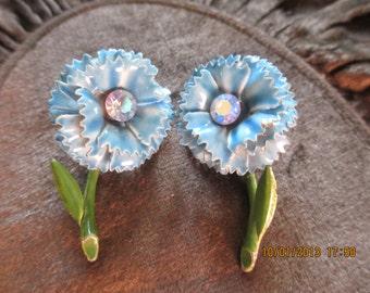 blue mum earrings