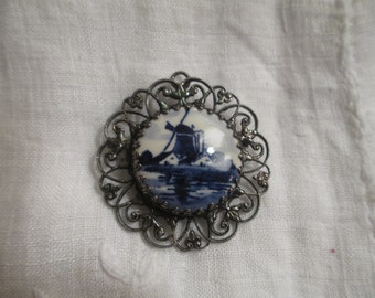 Blue and White porcelain brooch