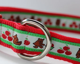 Bears and Apples Dog Collar/Adjustable/Holiday Collar/Gift