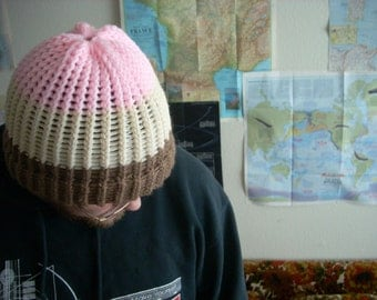 Neopolitan knit beanie with brim