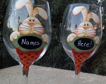 happy easter perfect set of 2 wine glasses to by biancasgifts. Black Bedroom Furniture Sets. Home Design Ideas