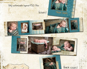 3x3 Mini Accordion Album template - Little Boy Blue Baby Album