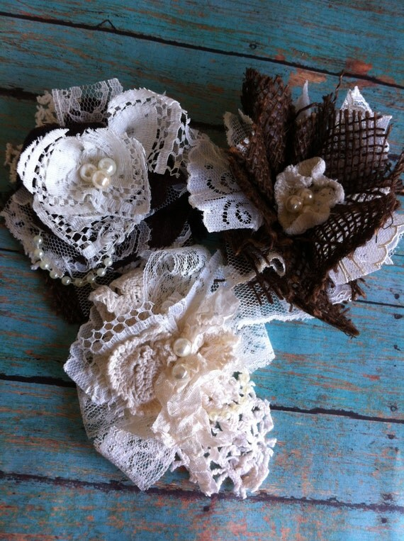 set of 3 burlap and lace rustic wedding decorations. Black Bedroom Furniture Sets. Home Design Ideas
