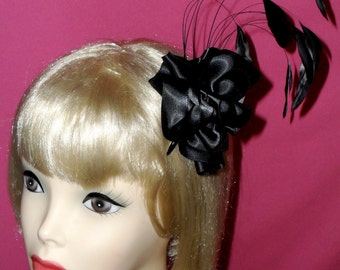 Custom Made Black Feather Fascinator,Vintage Inspired,Old Hollywood, Fantasy, Costume,Halloween, Black Coque Feathers, Taissa Lada, Gothic
