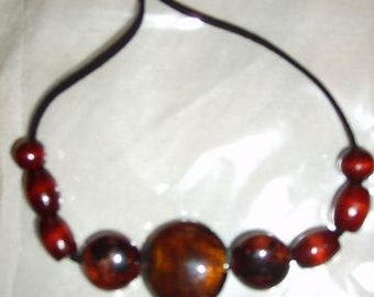 "Handmade Brown beaded 18"" necklace"