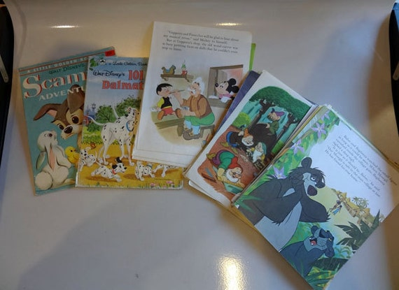 65 Loose Pages Little Golden Books Disney Dalmations Snow White Jungle Book Craft Supplies Vintage Ephemera