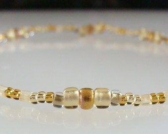 Stretchy Anklet, Gold, Beaded
