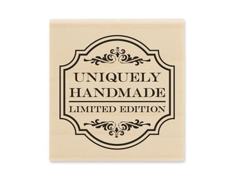 Uniquely Handmade Limited Edition Wood Block Rubber Stamp, Scrapbooking Stamp, Gift Tag Stamp,