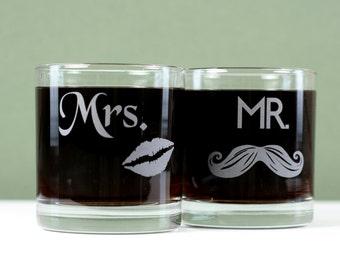 Wedding gift Mr Mustache and Mrs lips Glasses.wedding glasses,couple glasses,couple gift,wedding gift,newlywed gift,lgbt wedding,gay,lesbian