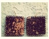 Black tye-dye fabric unique square shaped handmade earrings