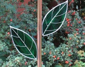 Plate Flower Copper Stem, Rebar Cover,  With Two Stained Glass Leaves