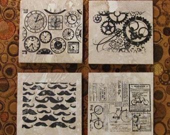Steampunk Coasters on Travertine