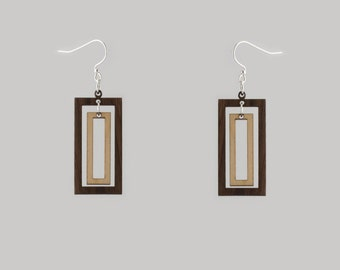 Two Toned Wooden Rectangle Earrings