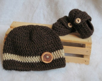 Brown and Tan Crochet Beanie and Loafer set