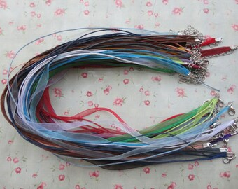 """set of 20--17""""-19"""" mixed color ribbon cord necklace with lobster clasp--ribbon necklace cord--MN3105-20"""